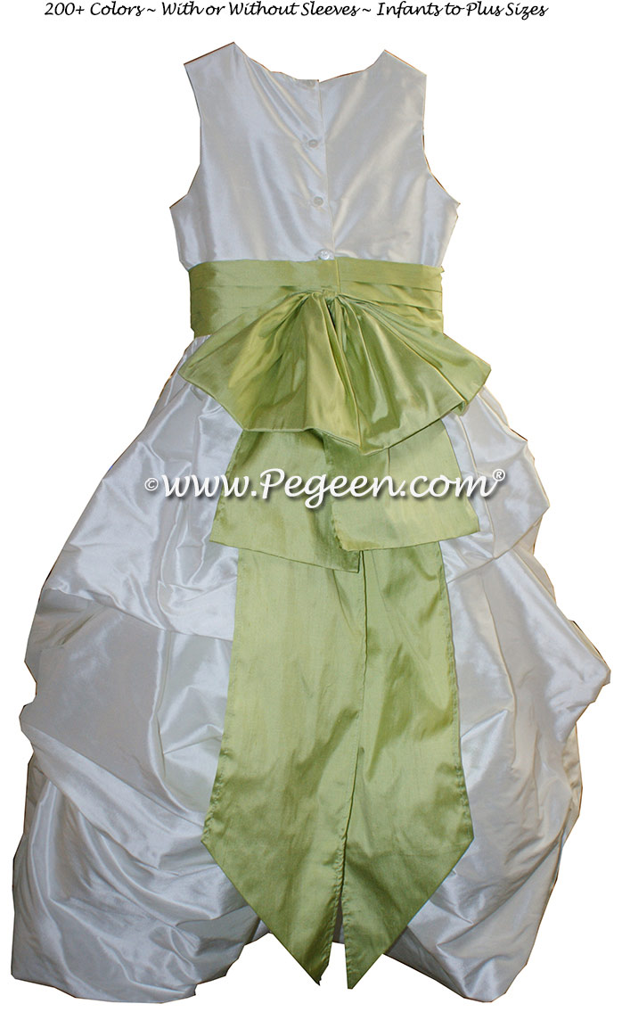 Antique White and Citrus Green flower girl dresses in silk Puddle flower girl dresses Style 403