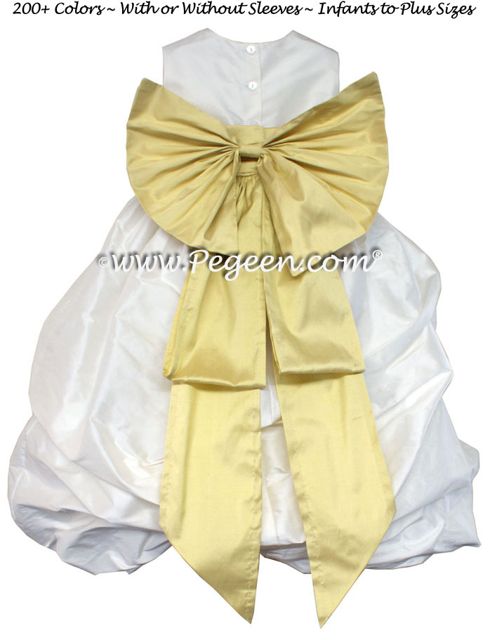 fe52725b8 ANTIQUE WHITE AND SUNFLOWER FLOWER GIRL PUDDLE DRESS Style 403 ...