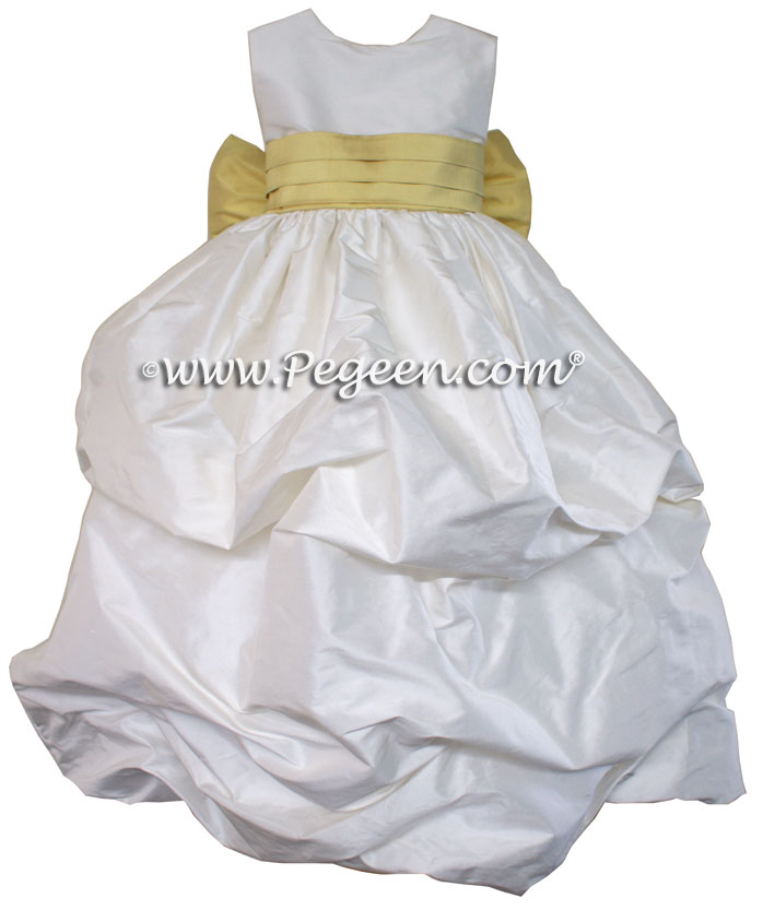 ANTIQUE WHITE AND SUNFLOWER FLOWER GIRL PUDDLE DRESS Style 403