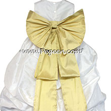sunflower and white silk bubble flower girl dress