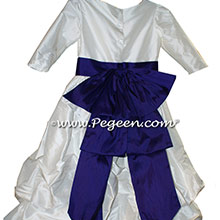 ANTIQUE WHITE AND DEEP PLUM PUDDLE DRESS WITH SLEEVES JR BRIDESMAIDS DRESSES