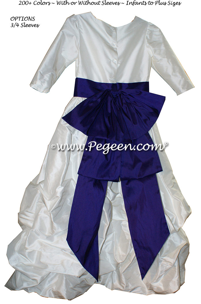 Antique White and Deep Plum flower girl dresses in silk Puddle flower girl dresses Style 403