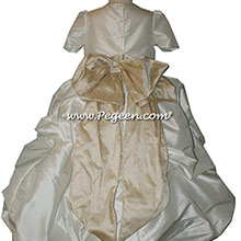 ANTIQUE WHITE AND WHEAT FLOWER GIRL DRESSES with a puddle skirt and Cinderella Skirt