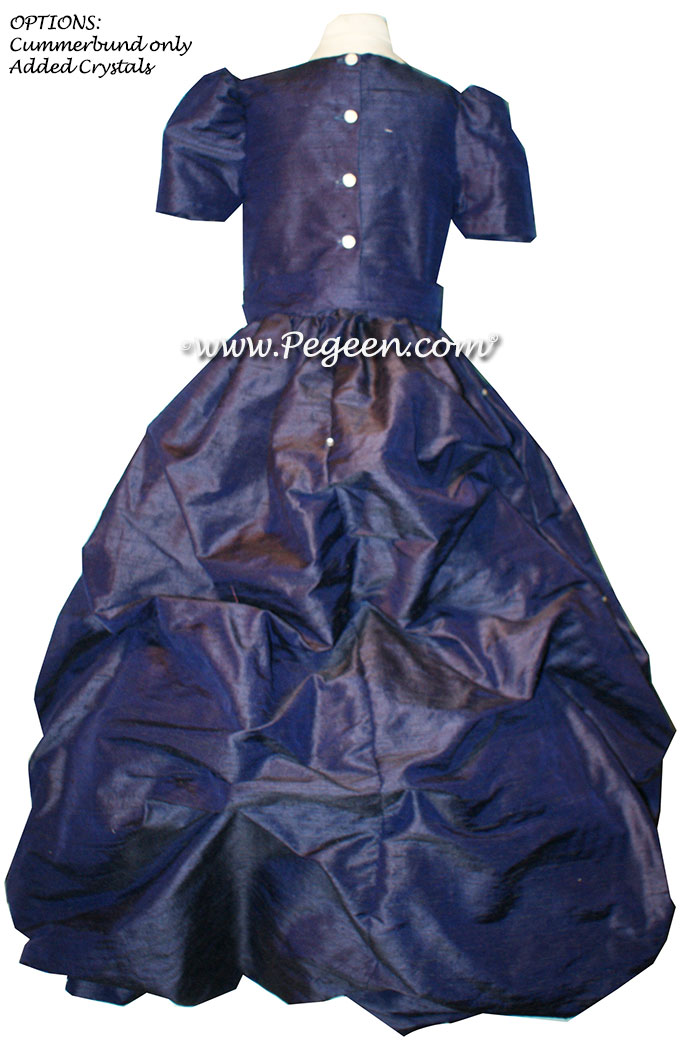 Navy Blue Silk Puddle flower girl dresses Style 403