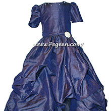 NAVY BLUE PUDDLE DRESS WITH SLEEVES JR BRIDESMAIDS DRESSES