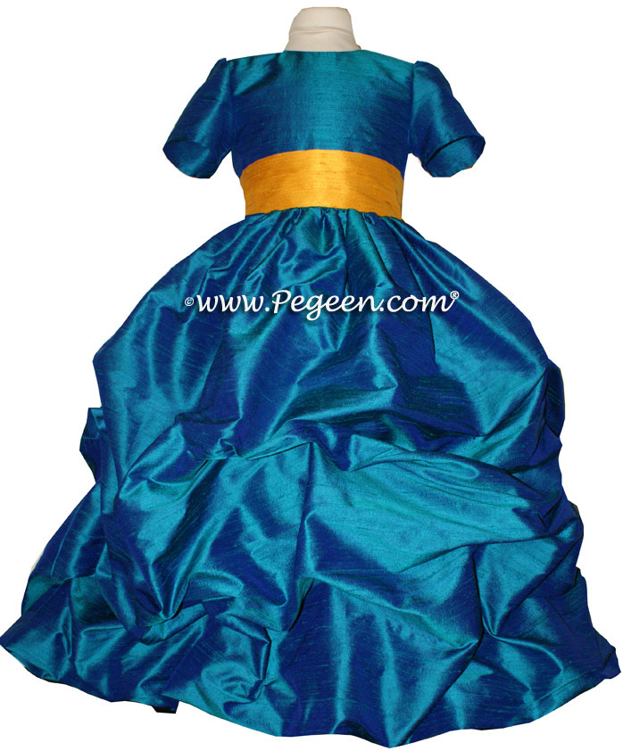 PEACOCK AND GOLDENROD FLOWER GIRL DRESSES Style 403