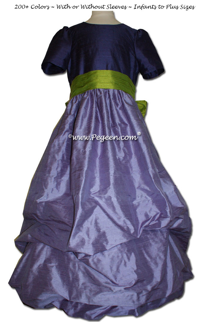 Periwinkle, grape and grass green flower girl dresses Style 403