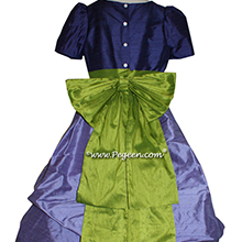 Periwinkle and Grass Green Jr Bridesmaids dresses