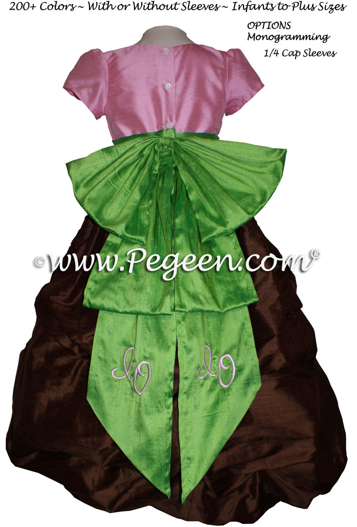 Pink, green and brown silk monogrammed Puddle style flower girl dresses in silk Style 403