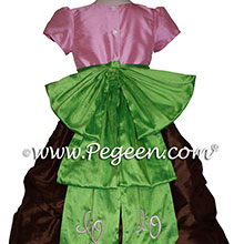 Pink Chocolate and Green Monogrammed flower girl dresses - PEGEEN