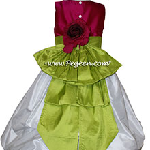 6eb0c3f09 ... RASPBERRY, Antique White AND GRASS GREEN PUDDLE DRESS WITH SLEEVES JR  BRIDESMAIDS DRESSES