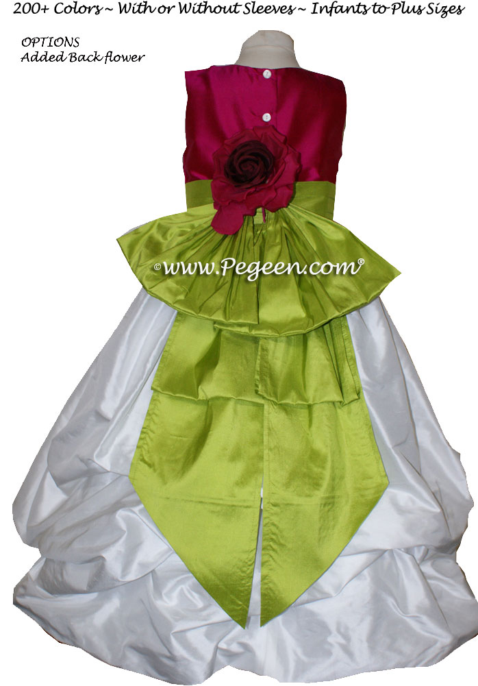 RASPBERRY, ANTIQUE WHITE AND GRASS GREEN FLOWER GIRL DRESS Style 403