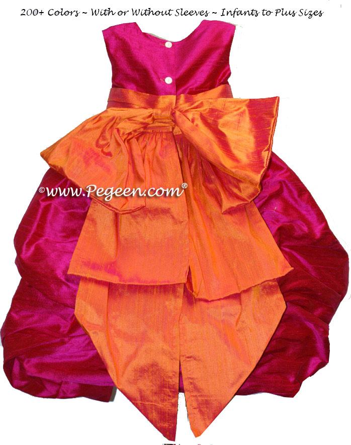 Mango Orange and Raspberry Pink Silk Puddle flower girl dresses Style 403