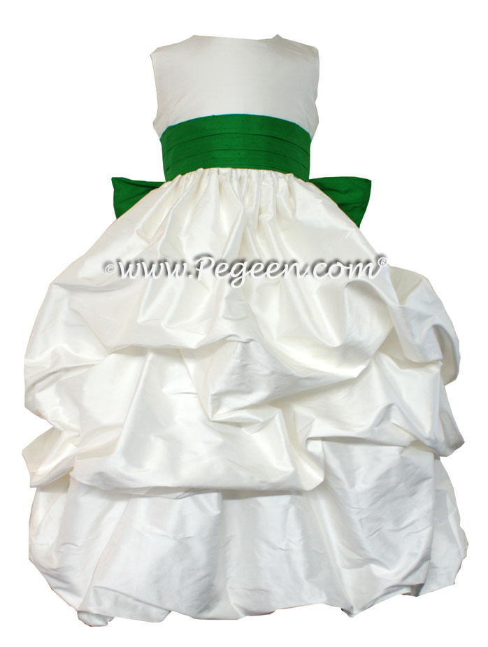 ANTIQUE WHITE AND SHAMROCK GREEN FLOWER GIRL PUDDLE DRESS Style 403
