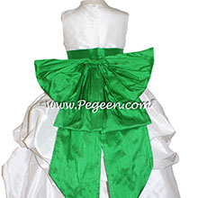 Antique White AND SHAMROCK GREEN FLOWER GIRL DRESSES PEGEEN STYLE 403 WITH CINDERELLA BOW