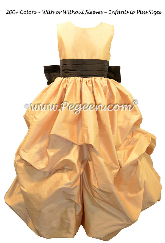 Flower girl dresses in spun gold and black silk puddle dress pegeen spun gold and black flower girl puddle dress style 403 mightylinksfo