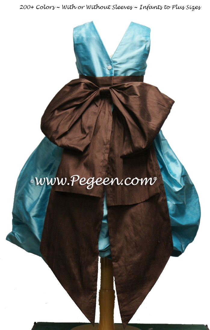 Tiffany Blue and Chocolate Brown Silk Puddle flower girl dresses Style 403