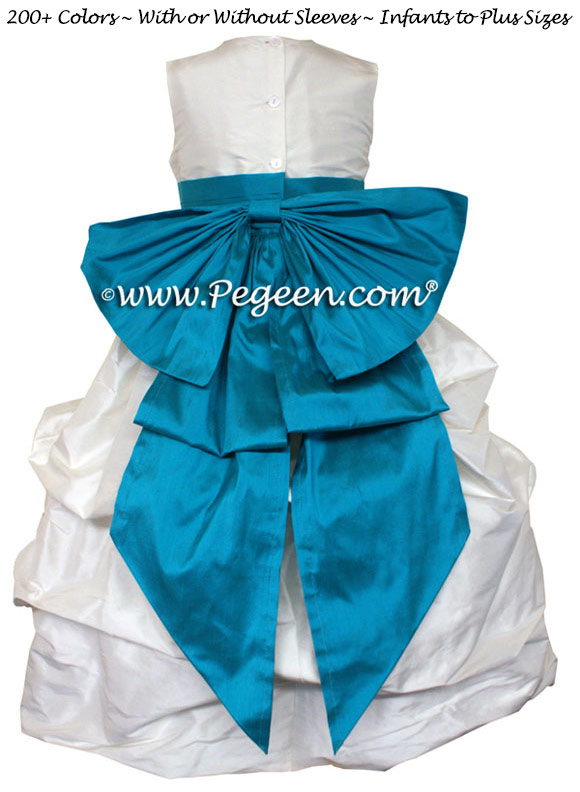 TURQUOISE AND ANTIQUE WHITE FLOWER GIRL PUDDLE DRESS Style 403