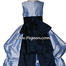 WISTERIA BLUE AND NAVY PUDDLE DRESS WITH SLEEVES JR BRIDESMAIDS DRESSES
