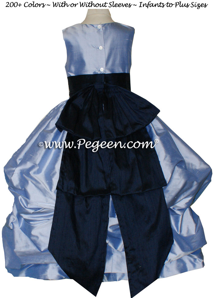 WISTERIA AND NAVY BLUE FLOWER GIRL PUDDLE DRESS Style 403