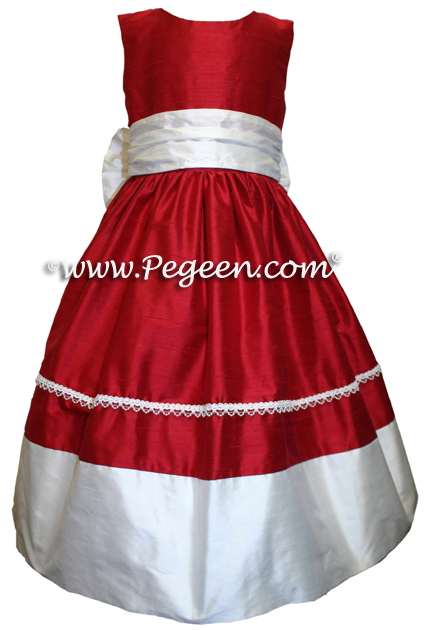 Red silk flower girl dresses in silk with pearl braid trim