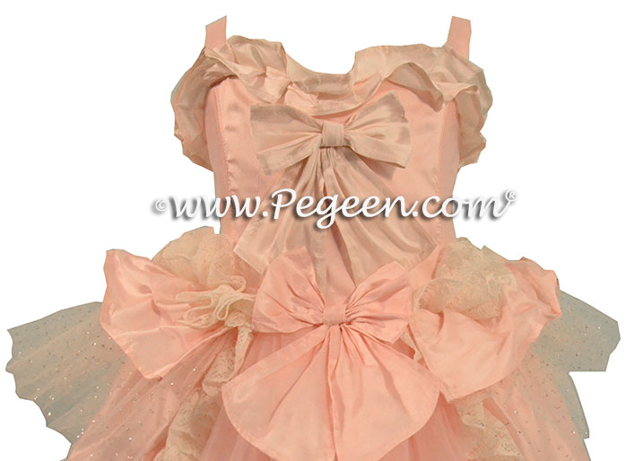 Pink and Bisque Ruffled Layers Nutcracker Clara Party Scene Dress or Flower Girl Dress by Pegeen Couture Style 405