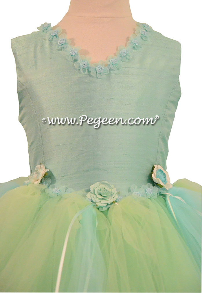 Aqualine, Mint Tulle and Silk flower girl dress fro Pegeen Couture - Style 406
