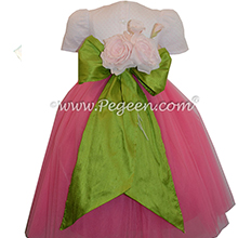 Shock Pink and Grass Green ballerina style FLOWER GIRL DRESSES with layers and layers of tulle