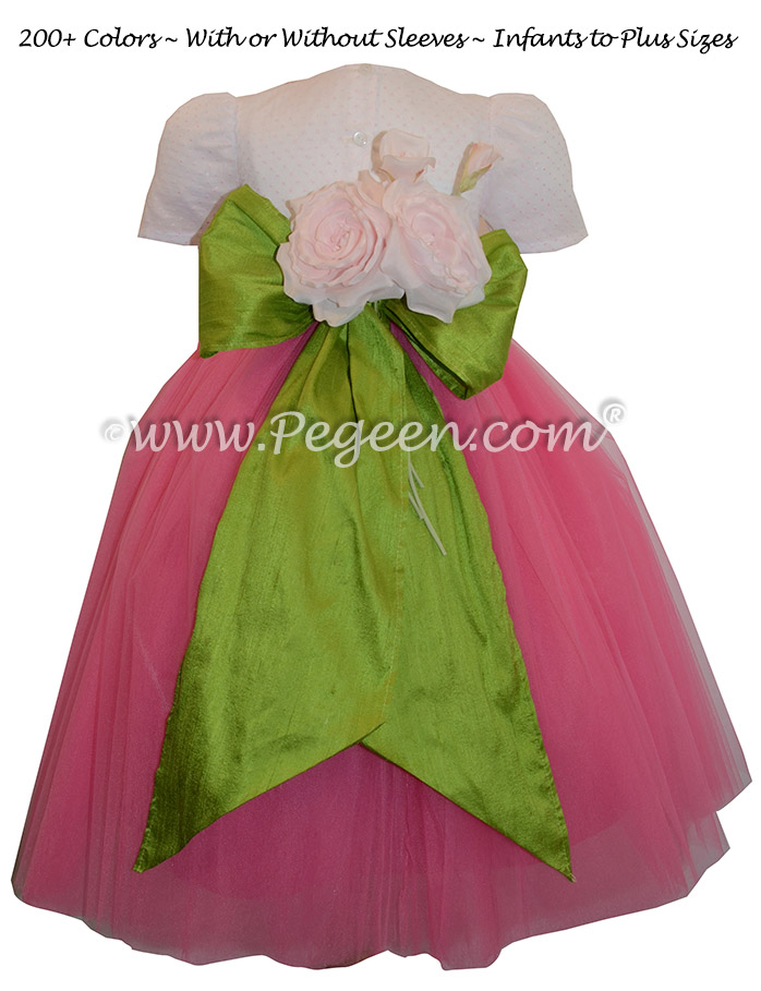 Ballerina style flower girl dress with apple green sash and shock pink layers of tulle