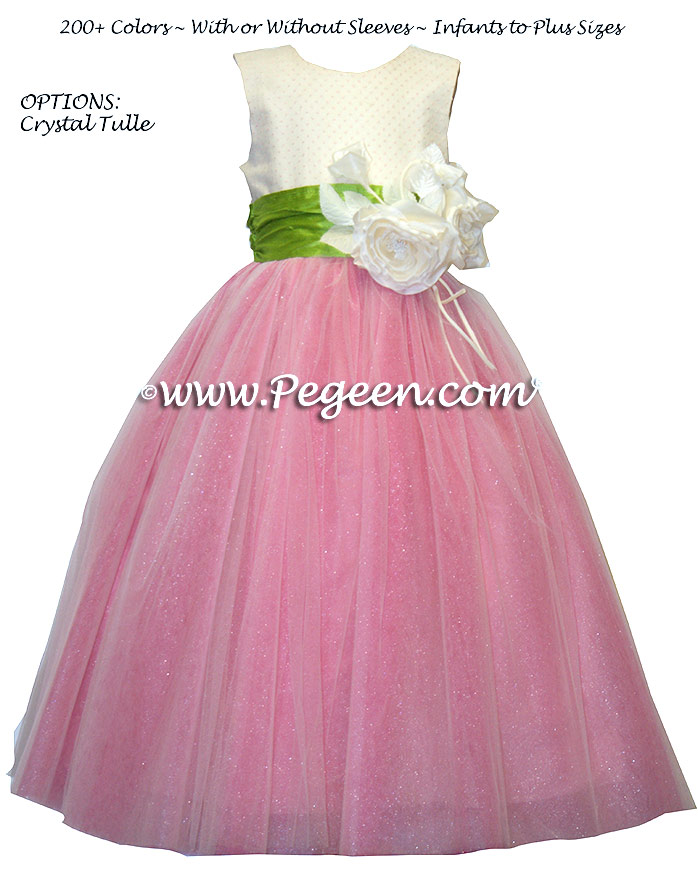 Ballerina style flower girl dress with layers of tulle - Style 402