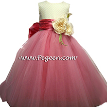 gumdrop pink ballerina style flower girl dress with layers and layers of tulle