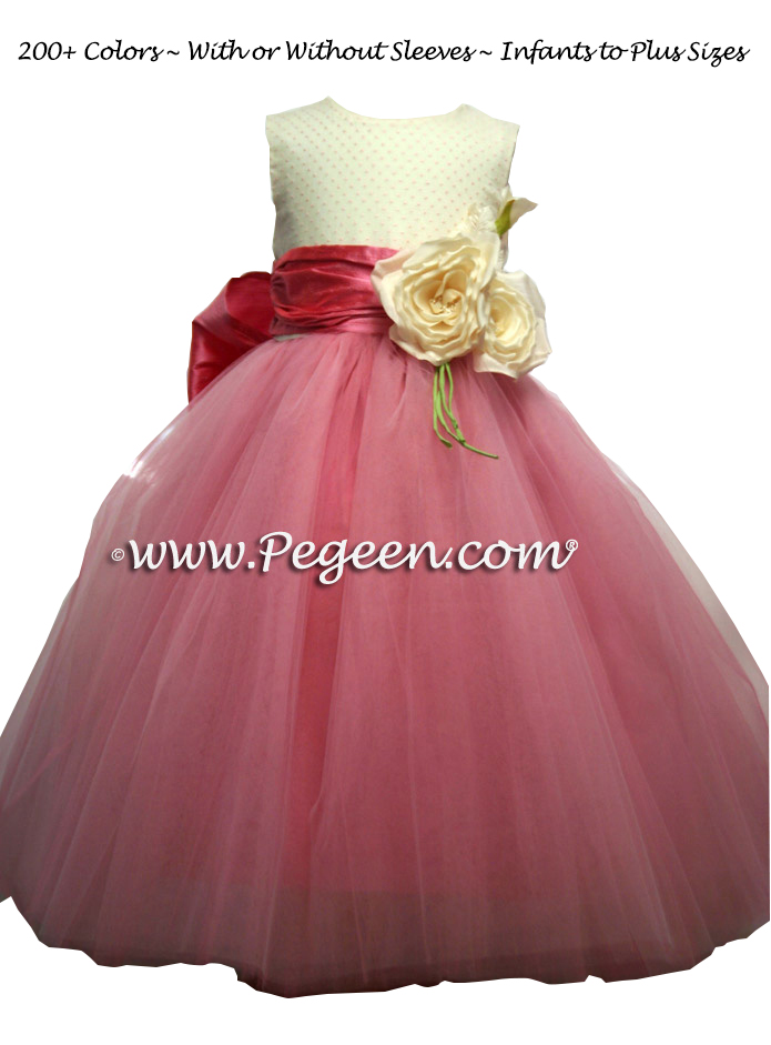 Flower Girl Dress in Gumdrop pink, tulle and dotted swiss | Pegeen