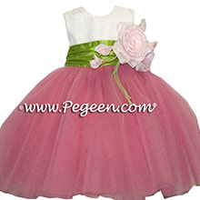 dotted swiss pink and white tulle flower girl dresses