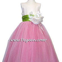 TOURQUOISE AND IVORY CUSTOM FLOWER GIRL DRESSES