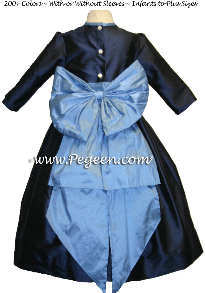 DELFT BLUE AND NAVY FLOWER GIRL DRESSES Style 345