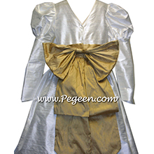 NEW IVORY AND SPUN GOLD SILK Flower Girl Dresses WITH LONG SLEEVES