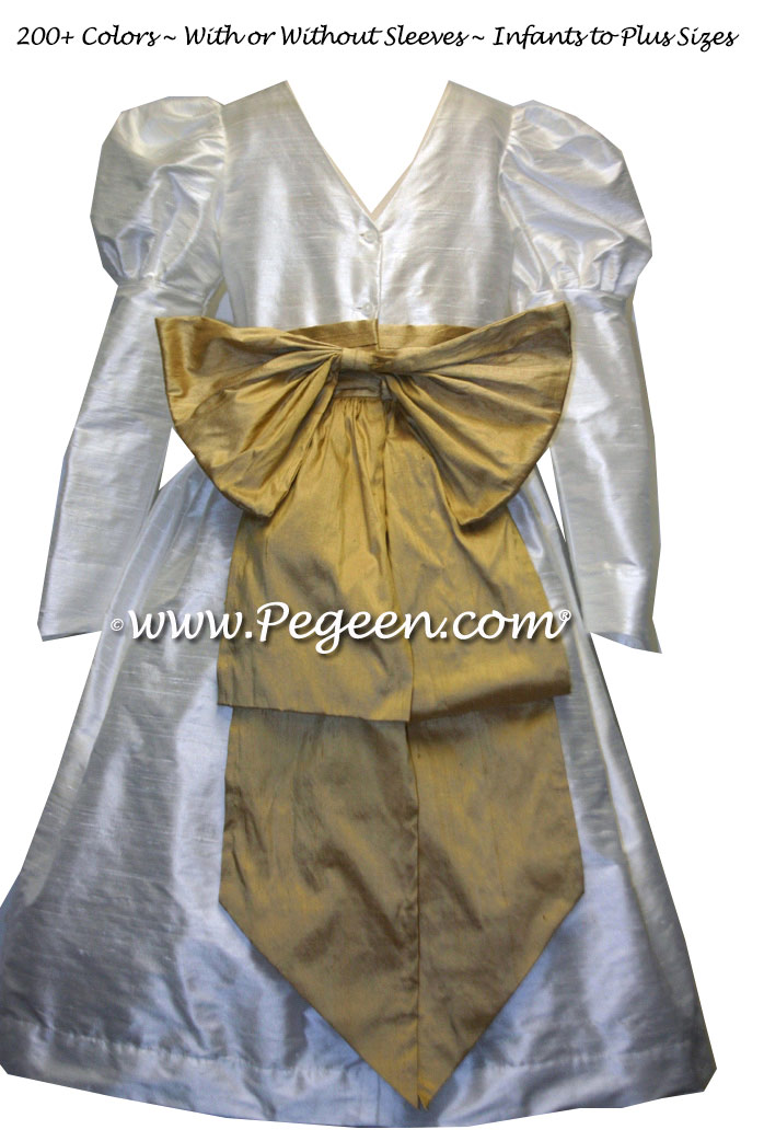 NEW IVORY AND SPUN GOLD SILK Silk flower girl dresses Style 345 with color sash by Pegeen.com
