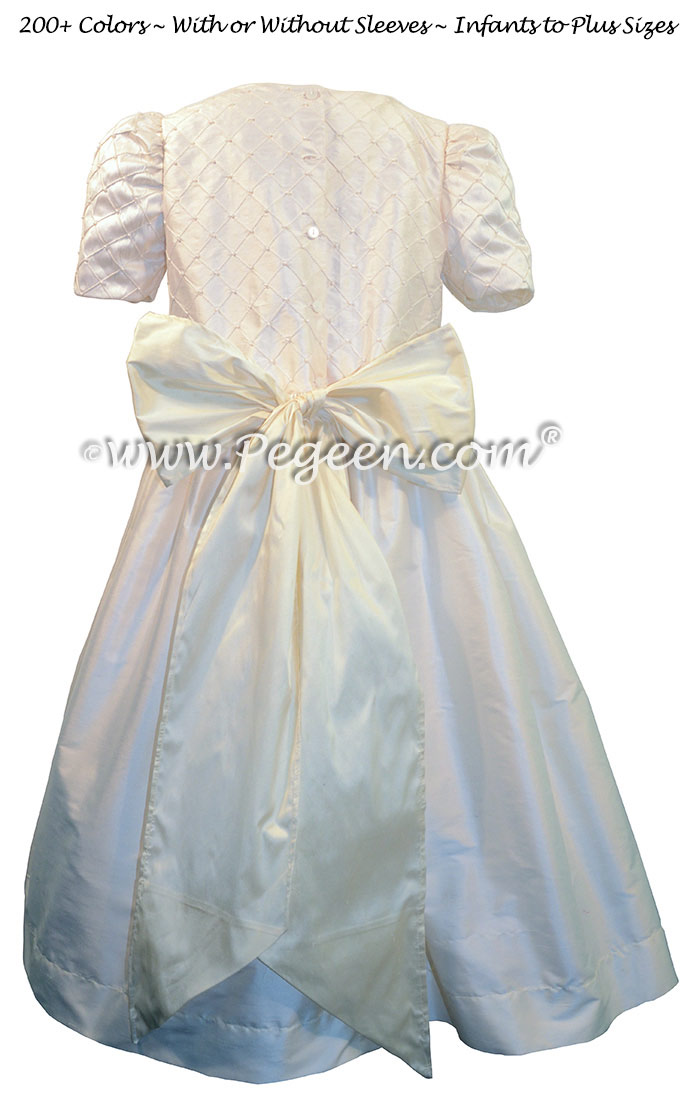 Antique White and Bisque First Communion Dress silk flower girl dresses