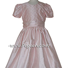 BABY PINK PEARLS AND TRELLIS SILK Flower Girl Dresses and Jr Bridesmaids Dresses