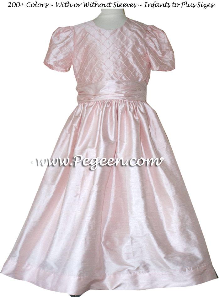 Jr Bridesmaids Dress in Petal Pink and pin tuck pearls Style 409 | Pegeen