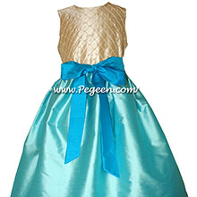 Bahama Breeze and Deep Sea and Tawny Gold flower girl dress Style 409