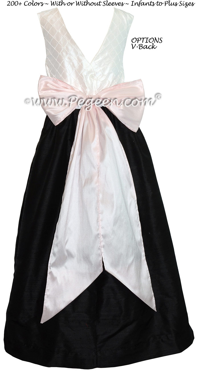 Black and Petal Pink and White Pin Tuck Bodice custom flower girl dress Style 409