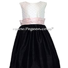Black and Petal Pink and White Pin Tuck Bodice custom Flower girl dresses