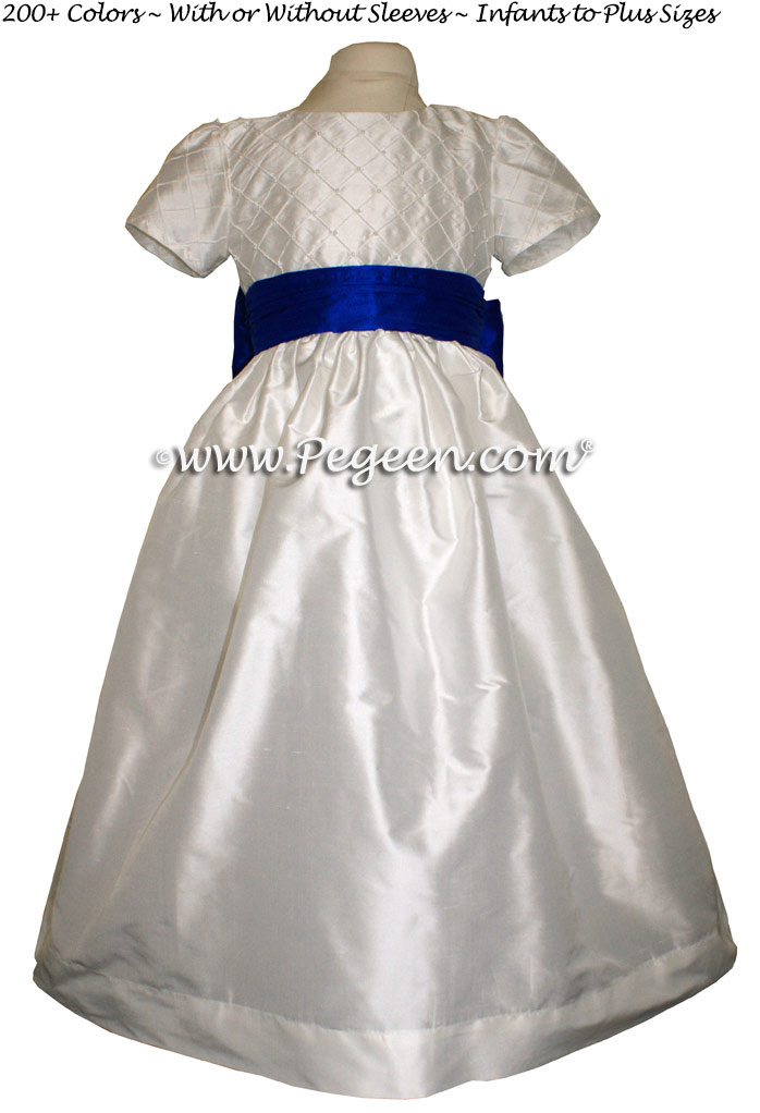 Antique White and Blue Indigo silk flower girl dress Style 409