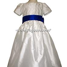 Indigo blue and white silk pintuck trellis flower girl dress
