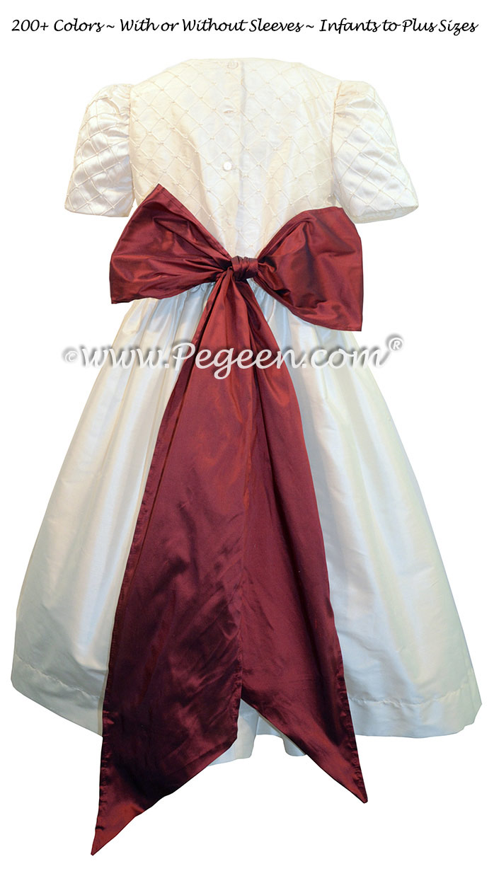 Antique White and Ruby Silk Flower Girl Dress Style 409