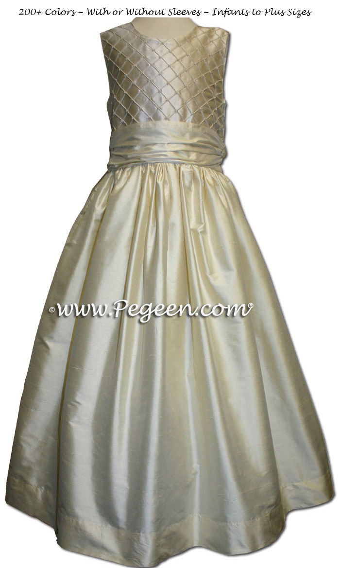 Buttercreme and Ivory pleated and pearled silk flower girl dresses