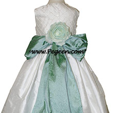 GREEN-BLUE AND Antique White CUSTOM Flower Girl Dresses with pin tucks and pearls silk bodice