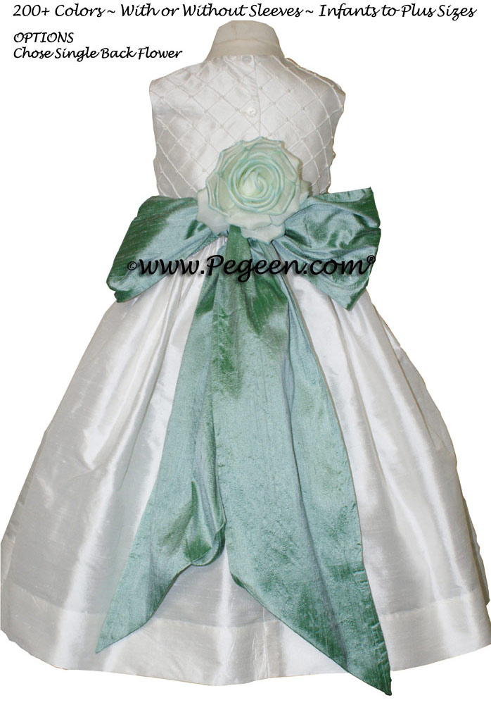 GREEN-BLUE AND ANTIQUE WHITE CUSTOM FLOWER GIRL DRESSES with pin tuck silk bodice