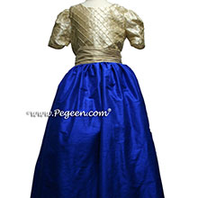 INDIGO BLUE AND SPUND GOLD JUNIOR BRIDESMAIDS DRESSES
